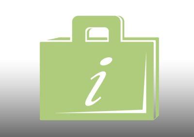 grafika Izielona teczka z uchem z białą literą i