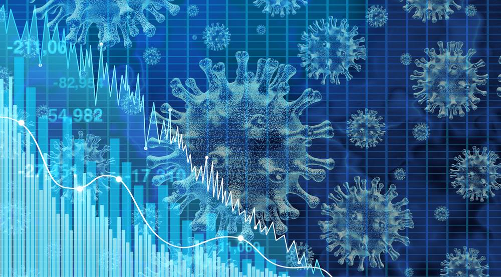 niebieska grafika przedstawiająca wirusa i wykresy