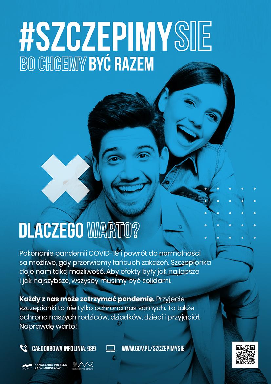 plakat z logiem szczepimy się i postaciami nastolatków